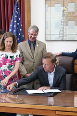 Reps. Davis, Ackert and Delnicki joined with colleagues across the aisle and impacted homeowners to celebrate the signing of PA 19-192 An Act Concerning Crumbling Foundations