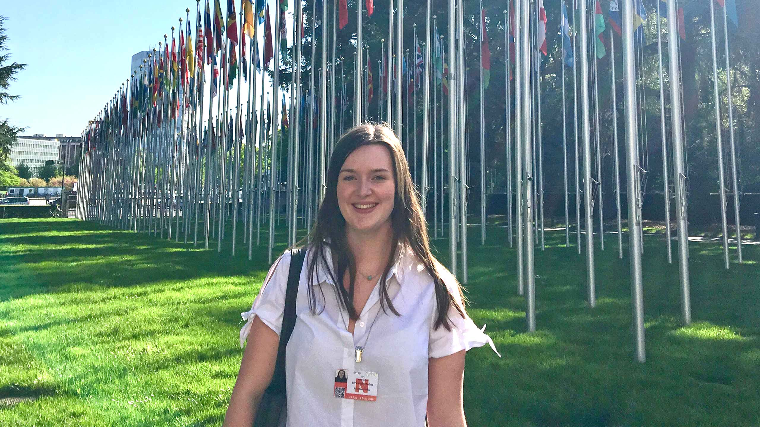 A student on placement outside the UN HQ