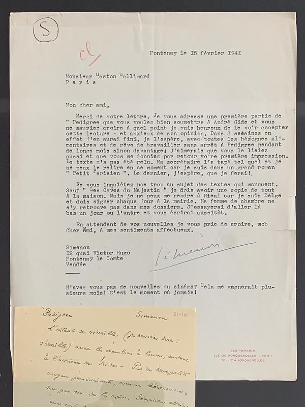 Lettre de Simenon à André Gide