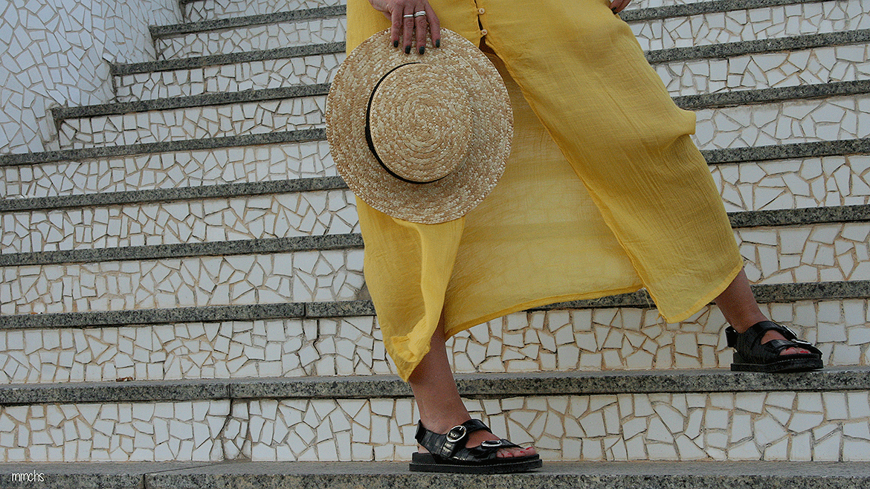 sombrero canotier de mujer