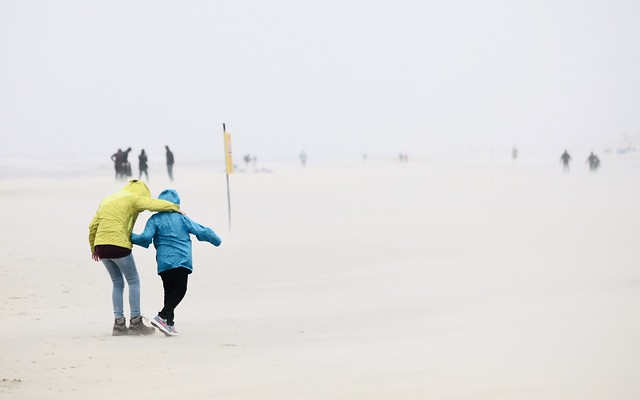 Storm, rain and sand at the beach of Noord-Holland