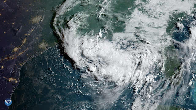 Clouds Associated with Tropical Disturbance Bubble Up Over Louisiana