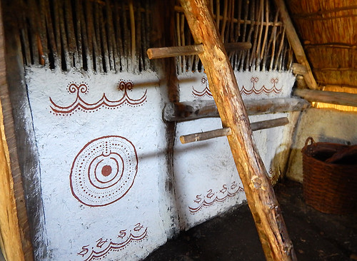 Painted design on a wall of a recreated Bronze Age house in Tanum, Sweden