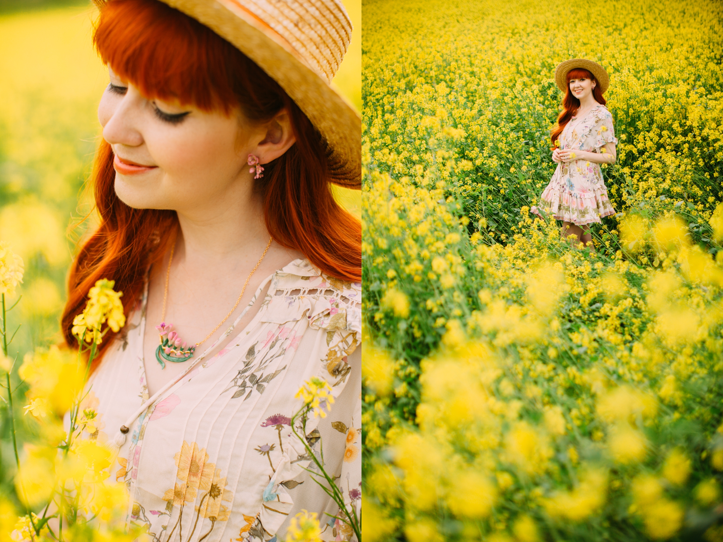 floral dress yellow field-11-side