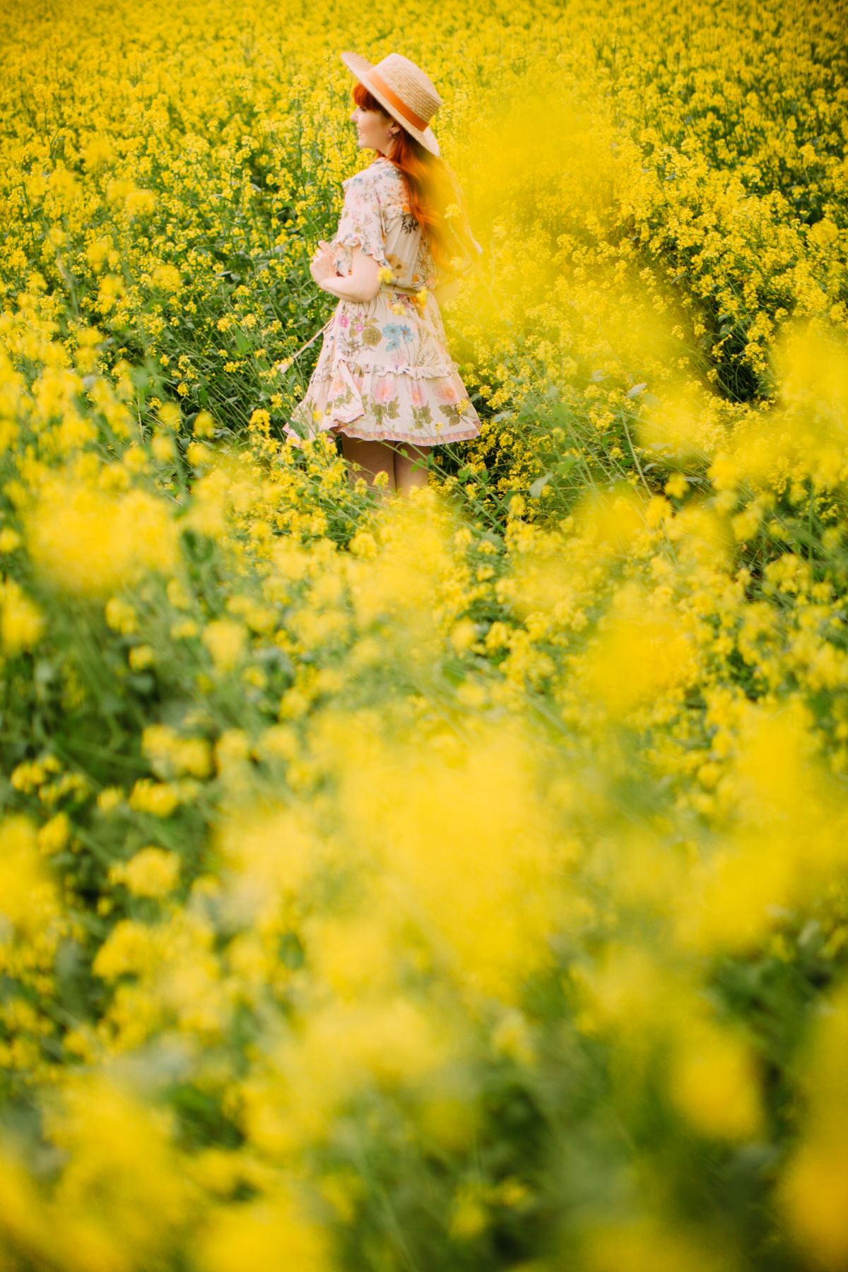 floral dress yellow field-15