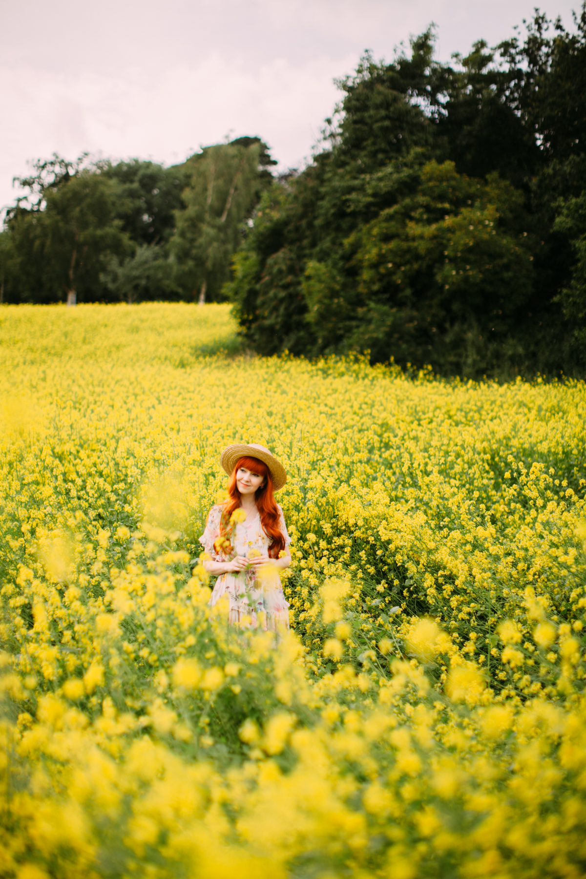 floral dress yellow field-30