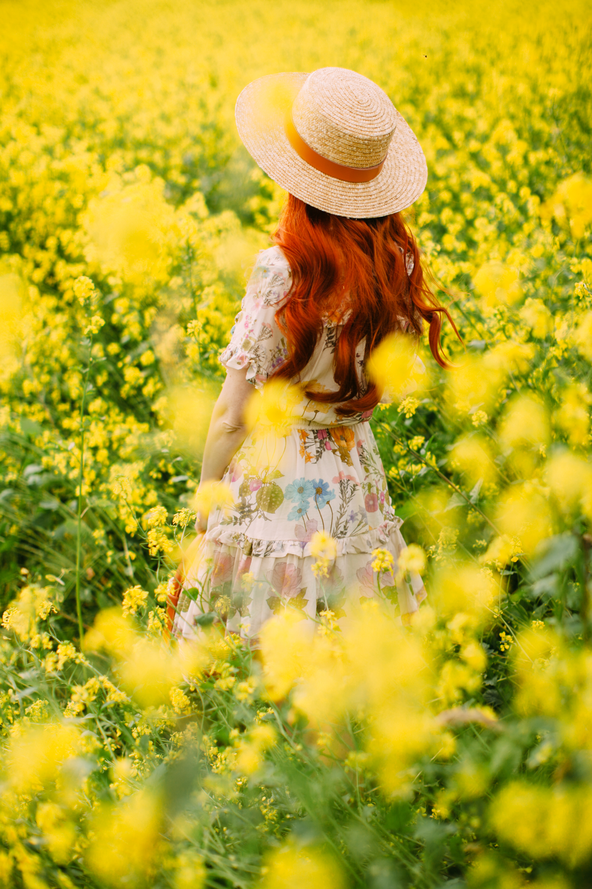 floral dress yellow field-4