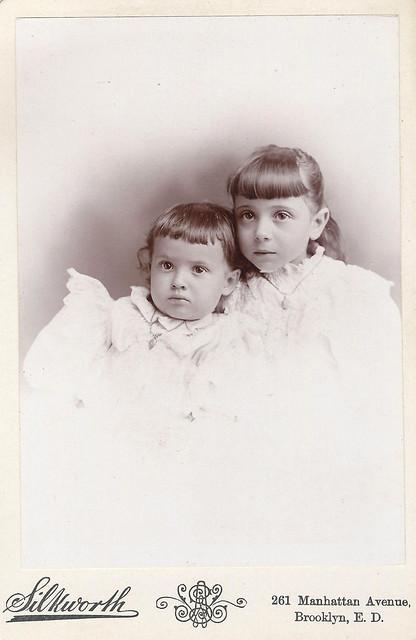 Estelle and Eloise Finger (Cabinet Card by Amos W. Silkworth, 261 Manhattan Avenue, Brooklyn, New York)