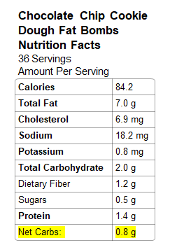 Nutrition Info: ChocChip Fat Bombs
