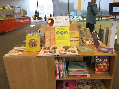 Creative wellbeing book display