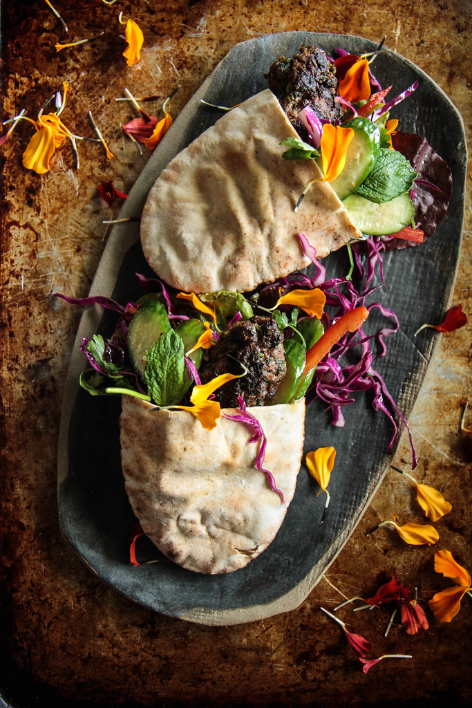 Grilled Lamb Pita Pocket Sandwiches- (gluten-free) from HeatherChristo.com