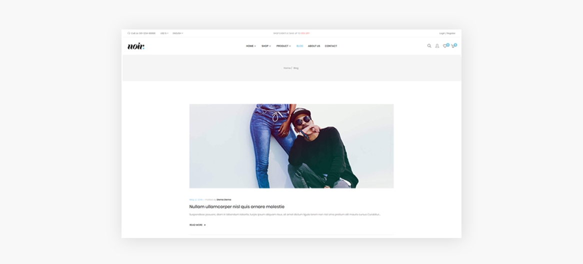 Smart Blog module-Leo Noir Prestashop Fashion Theme