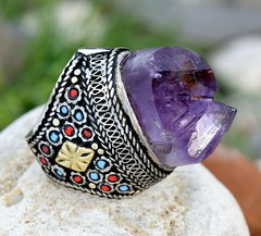 Purple-Amethyst-Point-Crystal-Stone-Kuchi-Ring-Tribal-Silver-Ethnic-Jewelry-Boho-