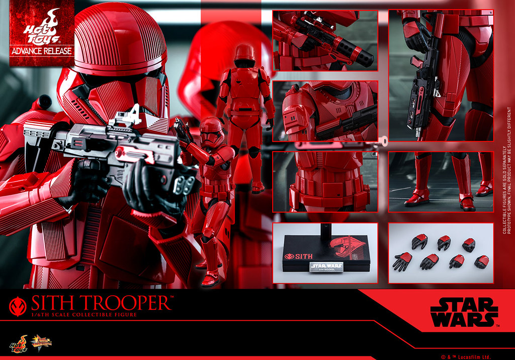 Hot Toys、Hasbro 所推出的《STAR WARS:天行者的崛起》西斯士兵 Sith Trooper 12吋、6吋可動人偶公開,將於SDCC 限定發售!【2019 SDCC 限定】