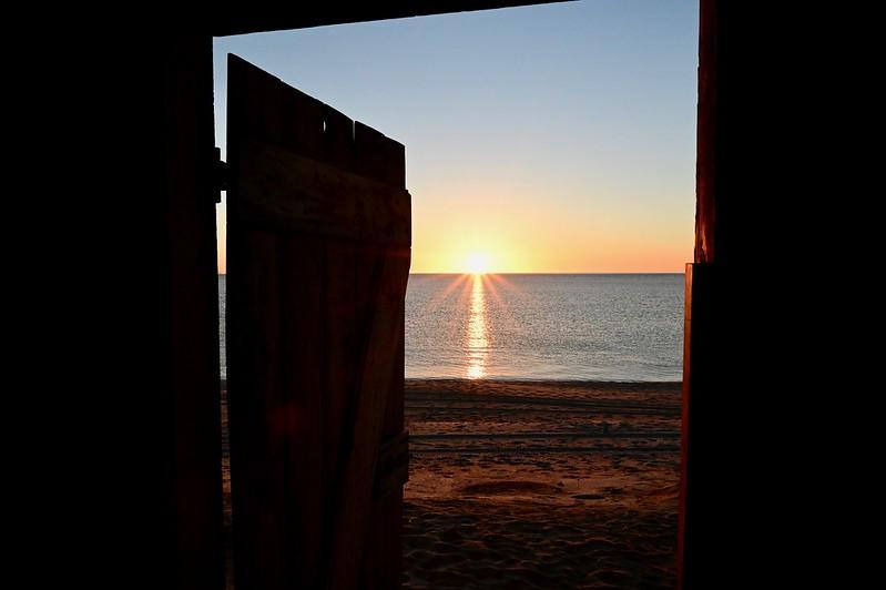 The sun rising over the Sea of Cortez