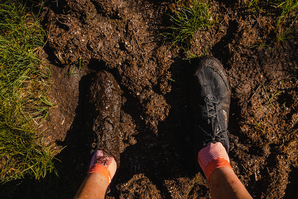 Running shoes, one covered in mud.