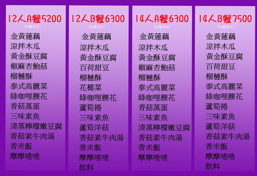 曼谷皇朝 素食泰式料理合菜套餐menu菜單04