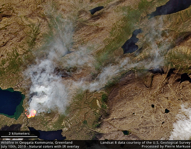 Wildfire in the Qeqqata Kommunia, Greenland - July 10th, 2019