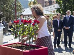Mónica Hernando, Directora de Víctimas y Derechos Humanos del Gobierno Vasco, deposita una flor en recuerdo a las víctimas.