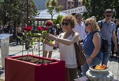 La concejala de EAJ/PNV Arritokieta Araiztegi deposita una flor en recuerdo a las víctimas.