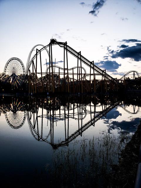 La Ronde rollercoaster reflections