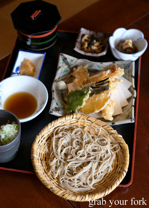 Cold soba set at Sasa soba restaurant in Karuizawa featured in Terrace House Opening New Doors