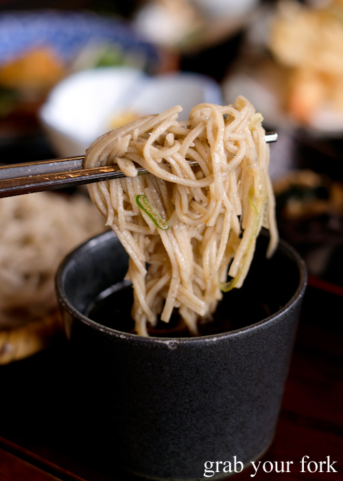 Karuizawa 100% buckwheat soba noodles dipped in tsuyu soy sauce at Sasa soba restaurant in Karuizawa featured in Terrace House Opening New Doors