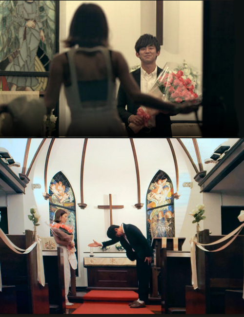 Shohei's proposal to Seina inside Kyu-Karuizawa Chapel in Karuizawa on Terrace House Opening New Doors