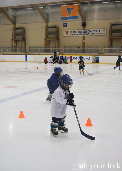 Young ice hockey players training at Kazakoshi Park Ice Arena in Karuizawa that featured in Terrace House Opening New Doors