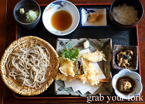 Local diners at Soba combination set at Sasa restaurant in Karuizawa featured in Terrace House Opening New Doors