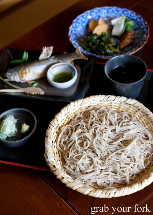 Karuizawa 100% buckwheat soba with ayu shioyaki grilled sweet fish at Sasa soba restaurant in Karuizawa featured in Terrace House Opening New Doors