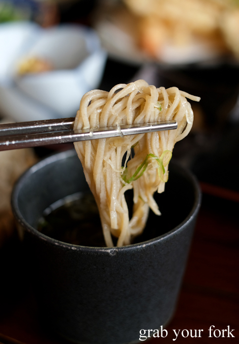 Soba noodles dipped in tsuyu soy sauce at Sasa soba restaurant in Karuizawa featured in Terrace House Opening New Doors