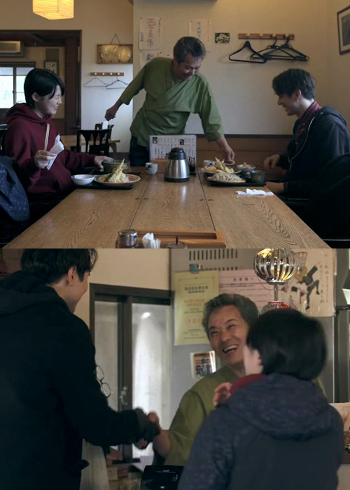 Tsubasa's dad, Tomio, with Tusbasa and Shion at his Sasa soba restaurant in Karuizawa featured in Terrace House Opening New Doors