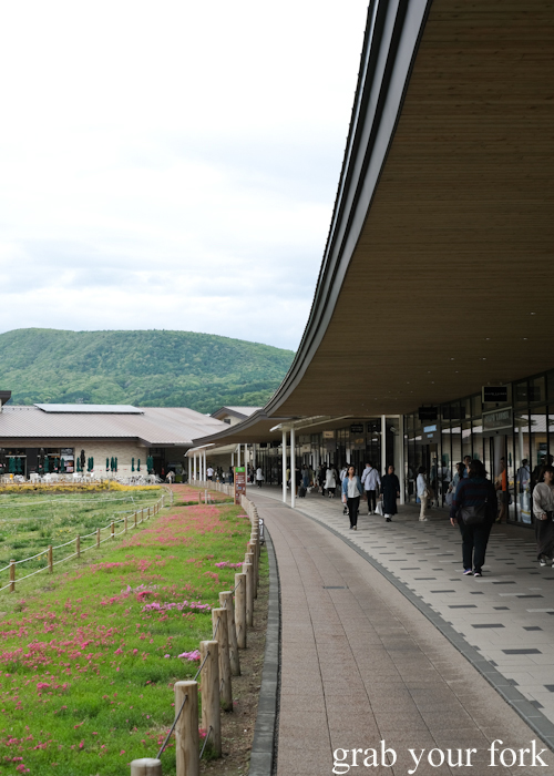 Scenic mountain backdrop to Karuizawa Prince Shopping Plaza
