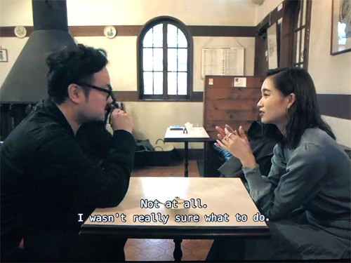 Masao and Risako having coffee at Tennentei Key Coffee Shop in Karuizawa in Terrace House Opening New Doors