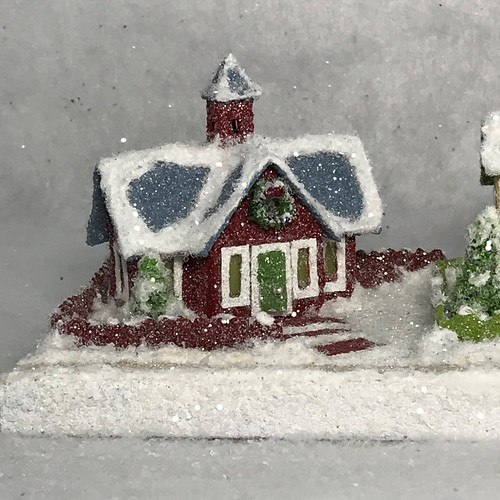 TINY MINI schoolhouse and ivory/green Putz house
