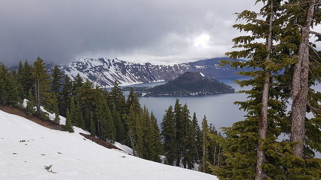 Crater Lake NP on a very cloudy & snowy day in June, OR