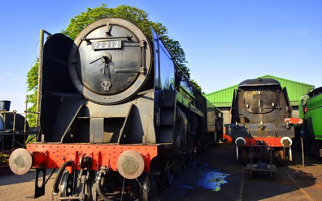 92212 and withdrawn 34007 Wadebridge - Ropley Shed Scenes, Mid Hants Railway, 11 07 19