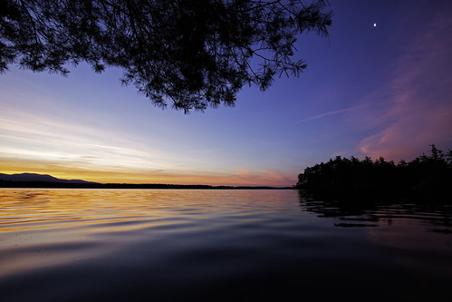 lakewinnipesaukee newhampshire night sky sunset threemileisland water
