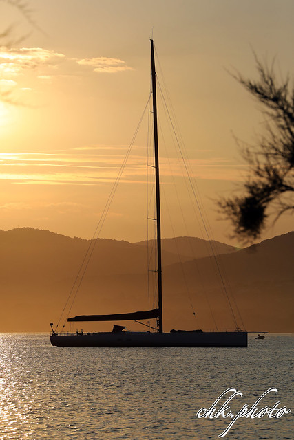 Sunset over St. Tropez bay