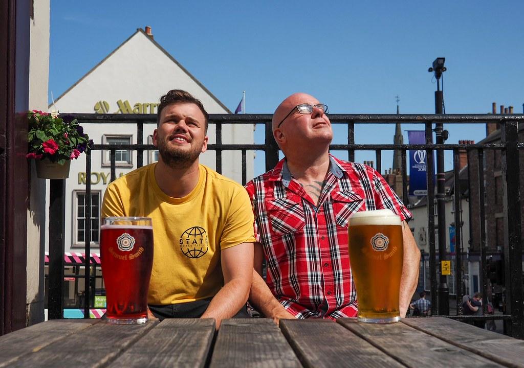 Beer gardening, Durham. The Swan and Three Cygnets.