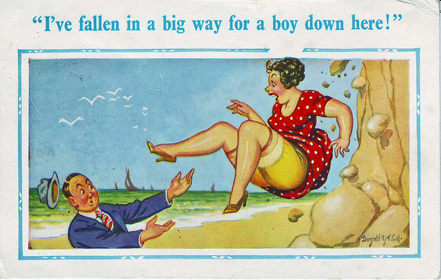 Saucy Postcard Fallen 1969 F