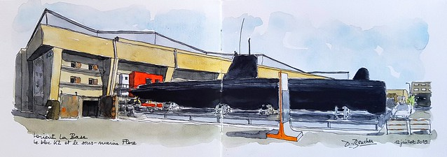 Lorient La Base - le Bloc K3 et le sous-marin Flore