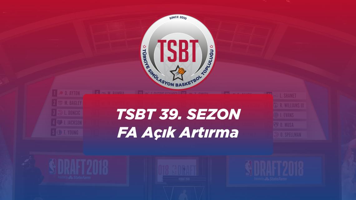 39. Sezon TSBT Free Agent Açık Artırması