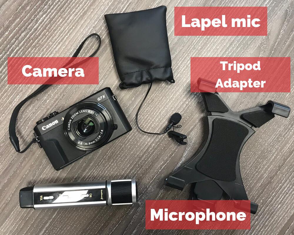 Erasmus+ Equipment for video making, camera, mic lapel, tripod adapter, microphone