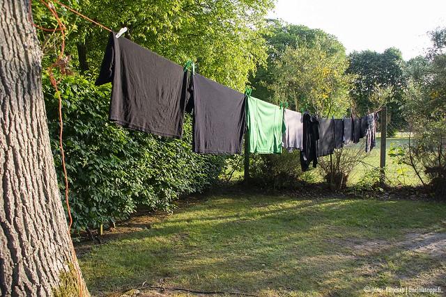 Pyykkejä kuivumassa leirintäalueella Jumiègesissä, Ranskassa
