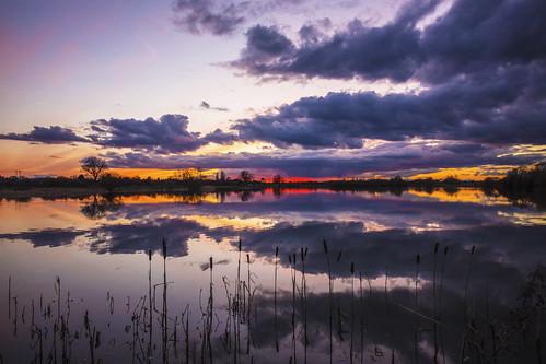 canon6d landscape clouds sky colour reflection lake nature outdoors outside cambridgeshire uk sunset