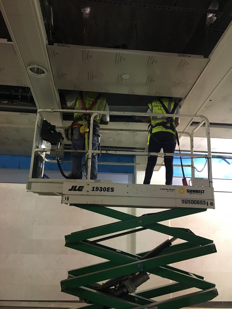 Installing a ceiling linear diffuser as part of the HVAC a