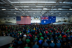 CORAL SEA (July 12, 2019) Prime Minister Scott Morrison, prime minister of Australia, speaks to Sailors aboard the Navy's forward-deployed aircraft carrier USS Ronald Reagan (CVN 76) during Talisman Sabre 2019. Morrison was given a tour of the ship before speaking with the crew during an all-hands call. Talisman Sabre 2019 illustrates the closeness of the Australian and U.S. alliance and the strength of the military-to-military relationship. This is the eighth iteration of this exercise. (U.S. Navy photo by Mass Communication Specialist 2nd Class Tyra M. Campbell)