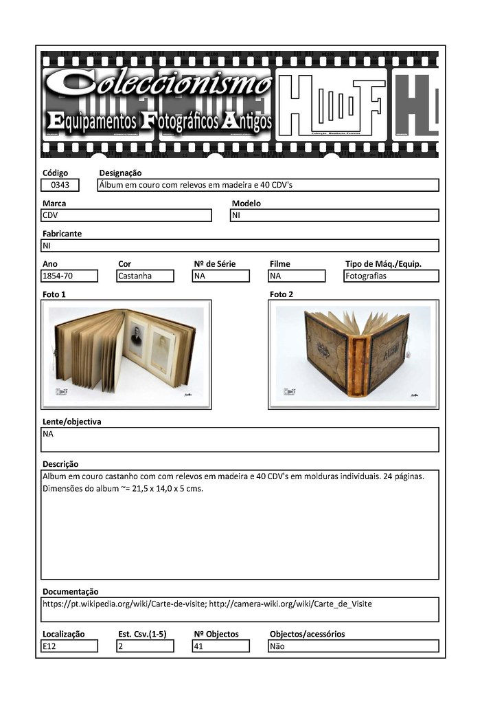 Inventariação da colecção_0343 Album em couro com relevos em madeira e 40 CDV's
